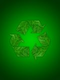 Recycling symbol. On green background Stock Images