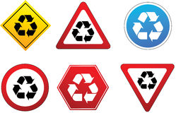 Recycling symbol as traffic sign Royalty Free Stock Photography