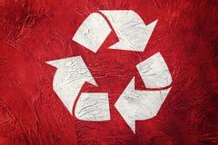 Recycling-Symbol auf Schmutzhintergrund Abbildung der roten Lilie Stockbilder