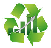 Recycling symbol with a bar chart in center Royalty Free Stock Photography