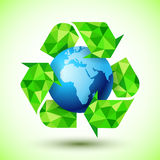Recycling Symbol with Blue Globe Royalty Free Stock Images