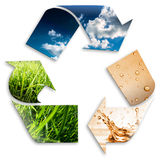 Recycling symbol. Cloudy sky, water, grass stock photography