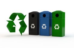 Recycling symbol and container stock photo