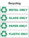 Recycling symbol with different sort of waste glass waste metal plastic Stock Photo