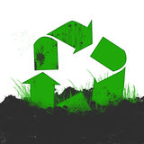 Recycling symbol in dirt Royalty Free Stock Photo