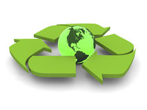 Recycling symbol with Earth. Glowing green planet Earth inside recycling symbol, concept of conservation,  on white background. Elements of this image furnished Royalty Free Stock Image
