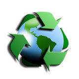 Recycling symbol with earth in the center Royalty Free Stock Images
