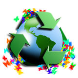 Recycling symbol with earth in the center Stock Images