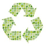 Recycling symbol filled with bio eco environmental related icons Stock Photo