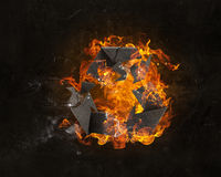 Recycling symbol in fire Royalty Free Stock Photography