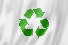 Recycling symbol flag Stock Photo