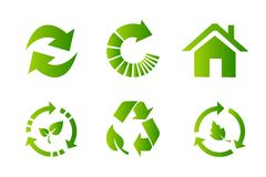 Recycling symbol flat icon set. Recycling symbol flat icon series royalty free illustration