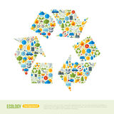 Recycling Symbol Flat Icons Concept. Vector Illustration. Ecologic Creative Concept. Abstract Infographics Template. Save the Planet Concept. Waste utilization Royalty Free Stock Image