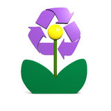 Recycling symbol on flower Stock Photos
