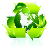 Recycling symbol with globe background Stock Photography