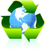 Recycling symbol with globe background Royalty Free Stock Images
