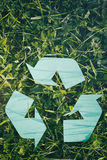 Recycling Symbol on Green Grass Royalty Free Stock Photos