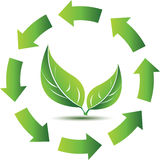 Recycling symbol with green leafs. Recycling symbol with glossy green leafs Royalty Free Stock Images