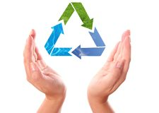 Recycling symbol between hands. Recycling arrow symbol between human hands isolated on white background Stock Images