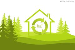 The recycling symbol is in the house. Stock Image