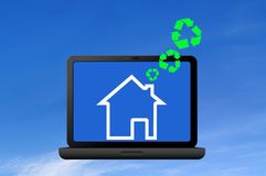 Recycling symbol and icon house Stock Images