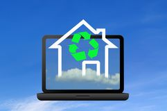 Recycling symbol and icon house Royalty Free Stock Images
