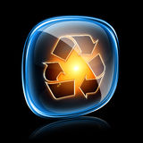 Recycling symbol icon neon. Royalty Free Stock Images