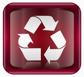 Recycling symbol icon red Stock Image