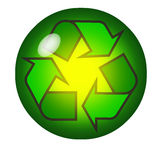 Recycling symbol inside a crystal ball Stock Photos