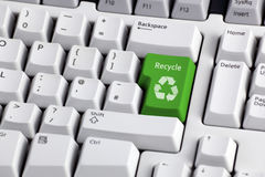 Recycling symbol on keyboard Royalty Free Stock Image