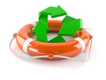 Recycling symbol with life buoy. On white background Royalty Free Stock Photos