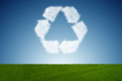 The recycling symbol made from clouds Stock Photography