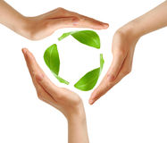 Recycling symbol made from hands Royalty Free Stock Images