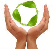 Recycling symbol made from hands Royalty Free Stock Photography