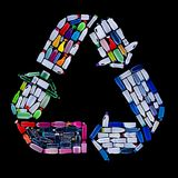 Recycling symbol made from plastic bottles trash - ecology conce Royalty Free Stock Photo