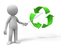 Recycling symbol. A man is explaining the recycling symbol Stock Images