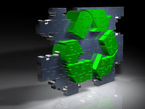 Recycling symbol - Puzzle - 3D Royalty Free Stock Photography