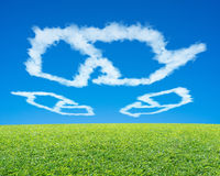 Recycling symbol shape cloud in blue sky with green meadow. Recycling symbol shape cloud in blue sky with green fresh meadow Stock Photos