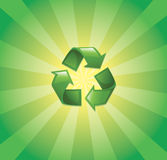 Recycling symbol with sunburst. Recycling symbol on green sunburst background Stock Images