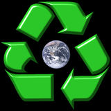 Recycling symbol surrounding e. Arth isolated in black Stock Photography