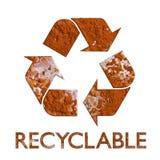 Recycling-Symbol verrostete Metallwiederverwertung Stockfoto