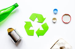 Recycling symbol with waste on white background top view mock up Stock Images