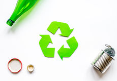 Recycling symbol with waste on white background top view mock up Royalty Free Stock Photos