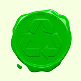 Recycling symbol wax seal. Green recycling symbol wax seal vector illustration
