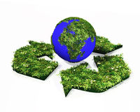 Recycling symbol with the world Stock Photography
