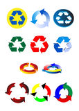 Recycling symbols. Set of 11 recycling symbols Royalty Free Stock Images