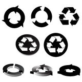 Recycling symbols. Black and white recycling symbols Royalty Free Stock Photos