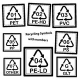Recycling Symbols with numbers for plastic Royalty Free Stock Photography