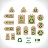 Recycling tags. Collection of tags and other objects with recycling theme vector illustration