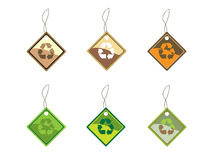 Recycling tags. Set of six recycling tags. More ecology images in my portfolio Stock Image